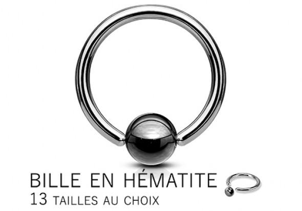 Piercing anneau BCR anodisé hématite