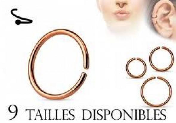 Piercing anneau nez plaqué or rose