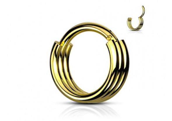 Piercing anneau segment clippé double doré