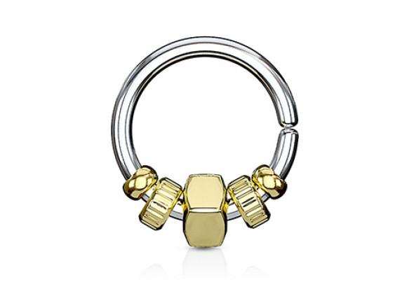 Piercing cartilage ou helix perle carré plaqué or