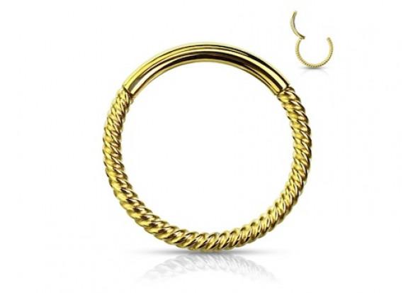 Piercing anneau segment clippé cordage doré