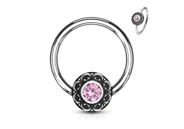 Piercing Anneau rosace antique opale rose