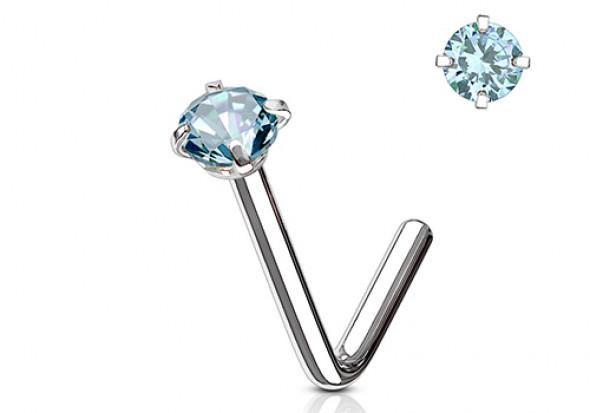 Piercing nez L pierre griffée 3mm turquoise