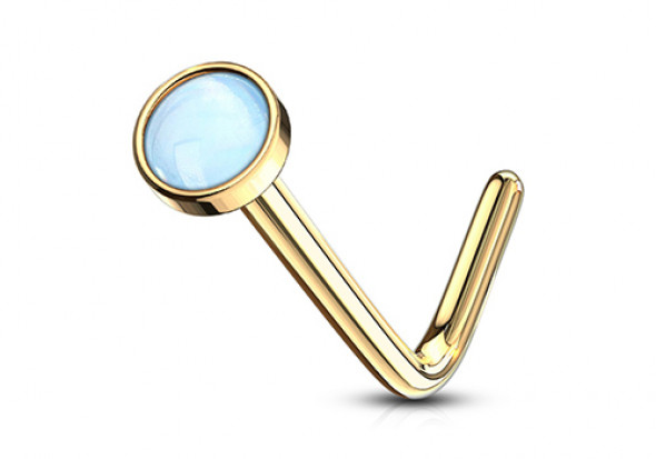 Piercing Nez plaqué or pierre époxy bleue 2.5mm