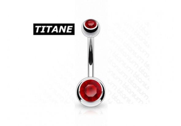 Piercing nombril titane double strass rouge