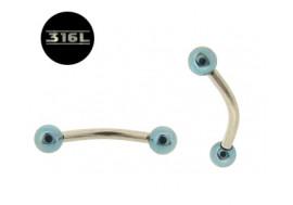 Piercing arcade Billes bleu clair 3mm