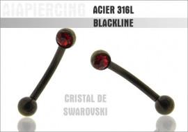 Piercing arcade noire pierre sertie rouge