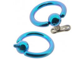 anneau titane bleu