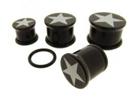 Piercing DESTOCKAGE Plug noir étoile blanche - du 8 au 19mm
