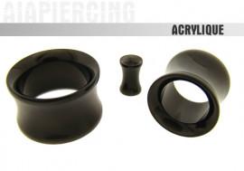 Piercing tunnel epaulé acrylique noir