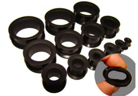 Tunnel souple silicone noir - de 3.5mm à 26mm