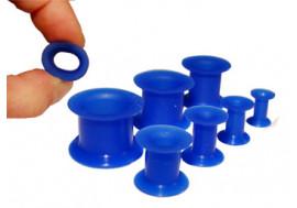 Piercing Tunnel souple silicone bleu
