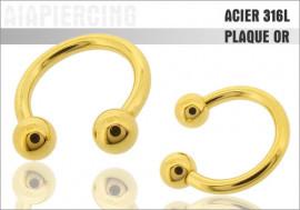 Piercing Fer à cheval plaqué or - jonc 1,6mm