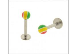 Piercing labret bille acrylique vert/jaune/rouge