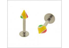 Piercing labret spike acrylique vert/jaune/rouge