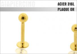 Piercing labret Micro plaqué or