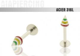 Piercing labret spike vert/jaune/rouge
