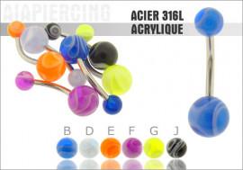 DESTOCKAGE Piercing nombril acrylique marbré