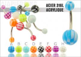 DESTOCKAGE Piercing nombril acrylique damier