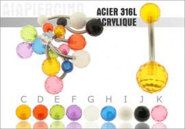 DESTOCKAGE Piercing nombril acrylique disco