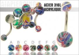 DESTOCKAGE Piercing nombril acrylique mélange de couleurs