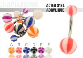 DESTOCKAGE Piercing nombril acrylique ballon