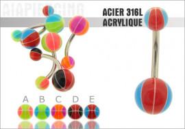 DESTOCKAGE Piercing nombril acrylique ballon bicolor