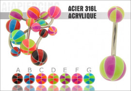Piercing nombril acrylique ballon basket bicolor