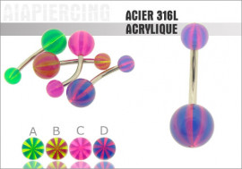Piercing nombril acrylique bicolor fluo