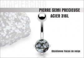 Piercing nombril obsidienne