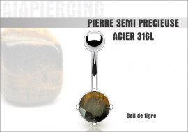 Piercing nombril oeil de tigre