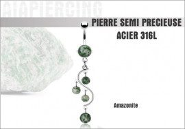 Piercing nombril cascade amazonite