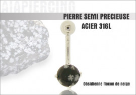 Piercing nombril obsidienne flocon de neige