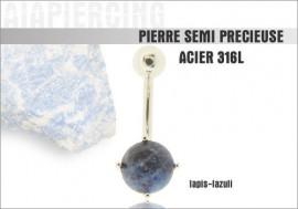 Piercing nombril lapis-lazuli