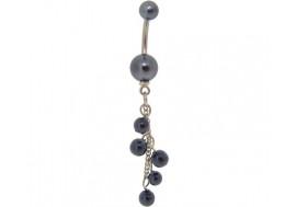 Piercing nombril pendentif perles nacrées noires