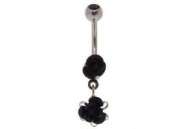 Piercing nombril pendentif rose noire