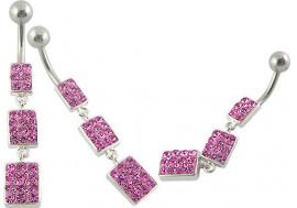 piercing nombril pendentif  Swarovski rose