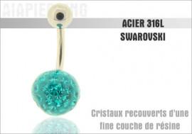 Piercing nombril cristaux turquoises