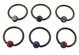 Piercing anneau BCR acier noir - Jonc de 1.2mm