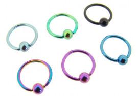 Piercing anneau BCR acier anodisé - Jonc 1.2mm x 10mm
