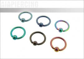 Piercing anneau BCR acier anodisé 1.2x8mm