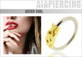 Piercing anneau plaqué or XXX : 1,2mmx10mm