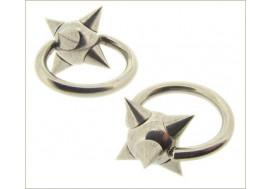 Piercing anneau bille clipsée spikes : 1,6x10mm