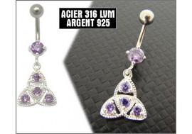 Piercing nombril pendentif argent pierres blanches et violettes