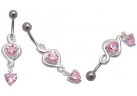 Piercing nombril argent coeur rose