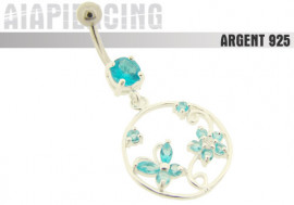 Piercing nombril argent pendentif papillon et fleur turquoises