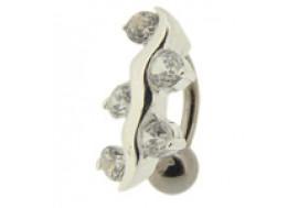 Piercing nombril argent inversé 5 pierres blanches