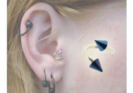 Piercing spirale cone bleu