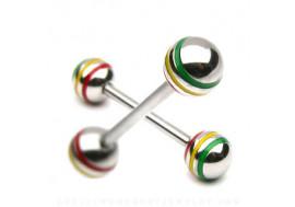 Piercing barbell vert/ jaune/ rouge