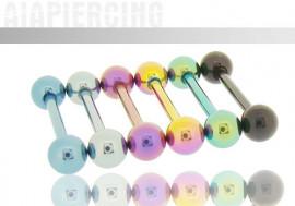 Piercing barbell Acier anodisé billes 5mm